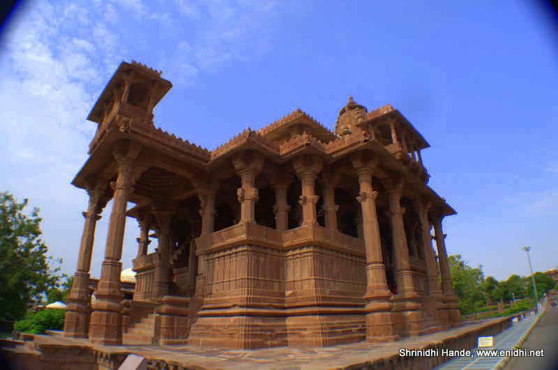 temple like cenotaphs at mandore gardens in jodhpur