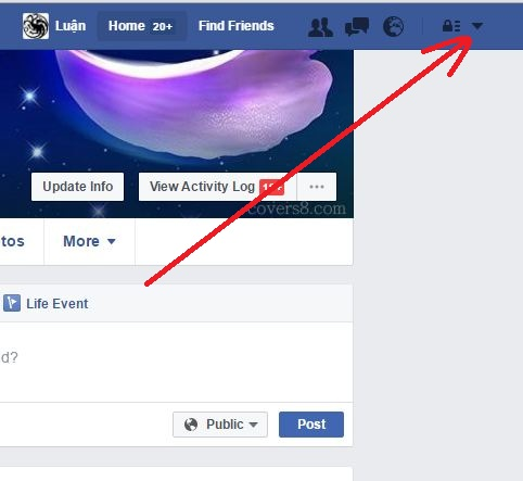 How to go to Facebook Settings step 1