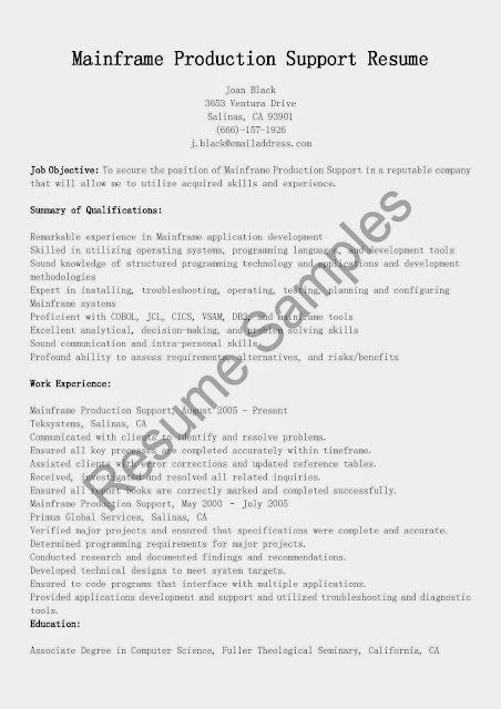 Great Sample Resume Mainframe Production Support Resume Sample