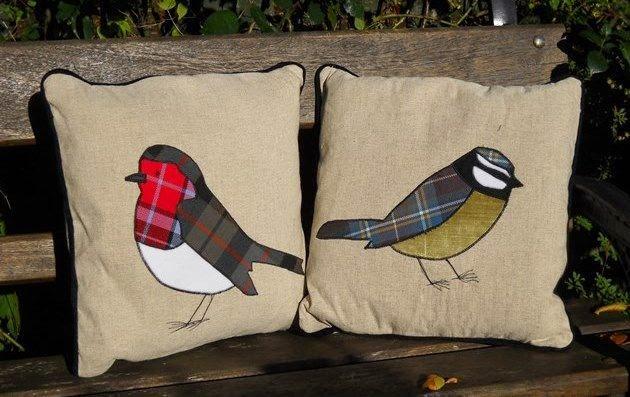 poduszki z aplikacjami ptaszkow