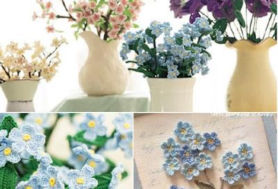 Flores azules silvestres a crochet (Patrón)
