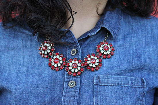 Red Flower Statement Necklace | Will Bake for Shoes