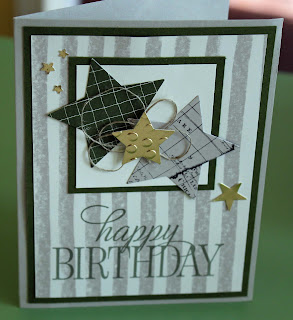 Stars, embossing, and twine on a CAS birthday card