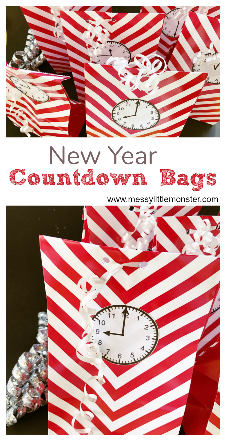 Use these countdown bags for a fun New Years Eve with kids! Add the printable clock faces to gift bags and fill them with New Years Eve activities for kids.
