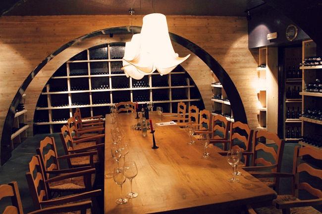 Pyrgos Mantania hotel wine cellar