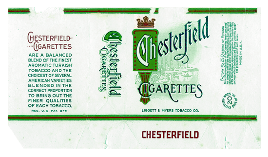Chesterfield packaging 1912