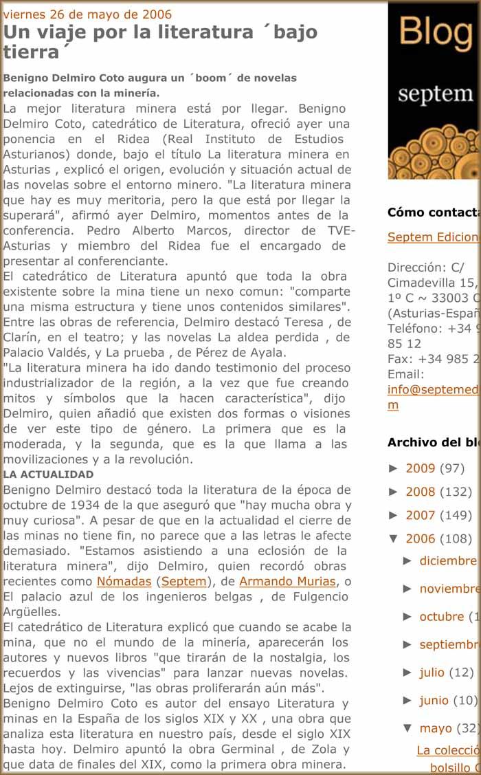 Benigno Delmiro Coto y la Literatura Minera en Asturias
