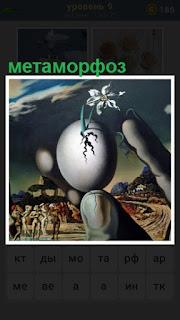из яйца вырастает растение, картина метаморфоз
