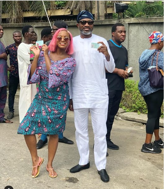 PHOTO: Femi Otedola and his daughter DJ Cuppy at their polling unit to cast their votes