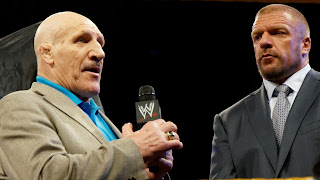 Sammartino addressing fans in 2014 alongside a more recent wrestling favourite, Paul Levesque - better known as Triple H