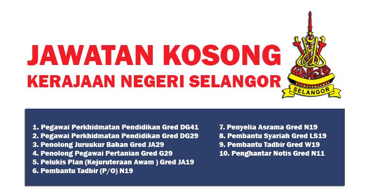Jawatan Kosong di Suruhanjaya Perkhidmatan Awam Negeri Selangor 2019
