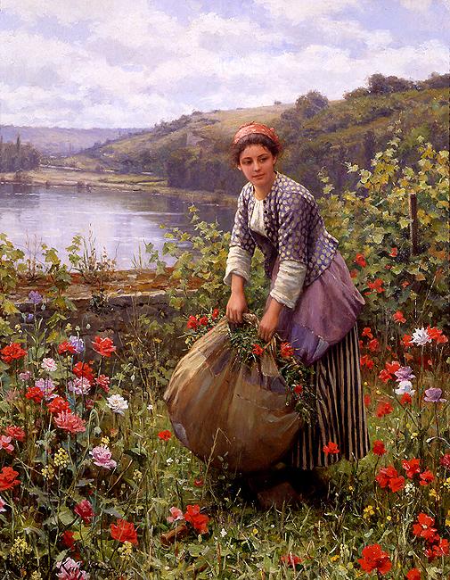 Cortando Grama - Daniel Ridgway Knight e suas mais belas pinturas
