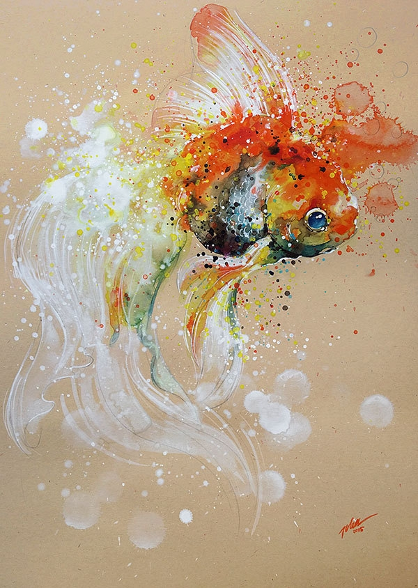 03-Goldfish-Tilen-Ti-Colorful-Watercolor-Paintings-of-Animals-www-designstack-co
