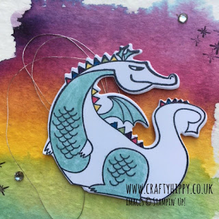 Make a gorgeous Dragon card using Magical Day and Aqua Painters by Stampin' Up!