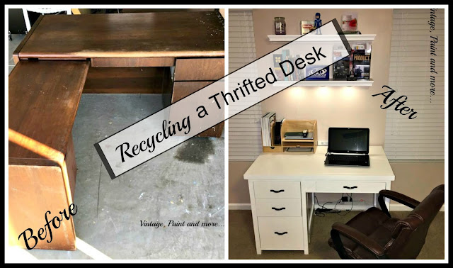 diy desk using an old thrifted desl