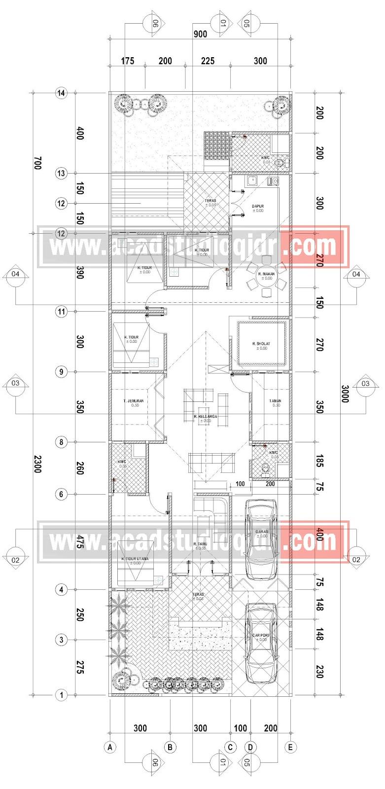 Desain Rumah Memanjang Milik Bpk Wendi Siswanto  Jasa