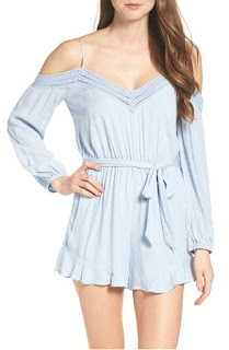 nordstrom blue plunging sexy romper