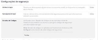 Gerador de Códigos Facebook