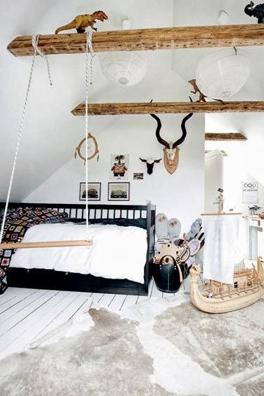dormitorio con vigas vista de madera