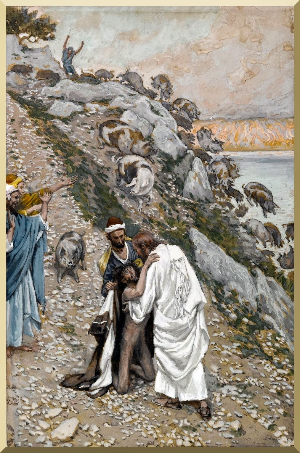 """The Swine Driven into the Sea"" -- by James Tissot"