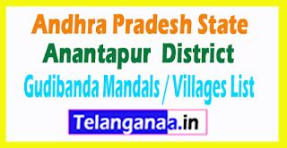 Gudibanda Mandal Villages Codes Anantapur District Andhra Pradesh State India