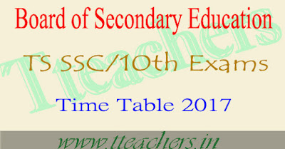 TS ssc time table 2018 Telangana 10th exam dates pdf download