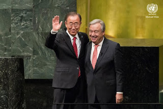 Ban Ki Moon and his UN successor Antonio Guterres