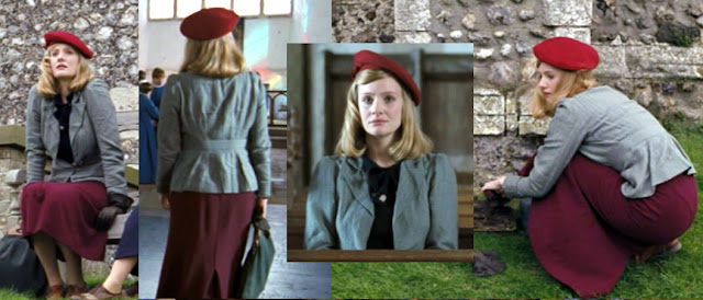 Glorious 39 Fashion - Anne - Burgundy Skirt with grey jacket and red beret