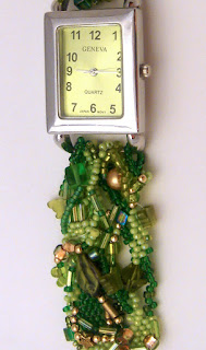 detail, freeform peyote watchband by Bette Greenfield