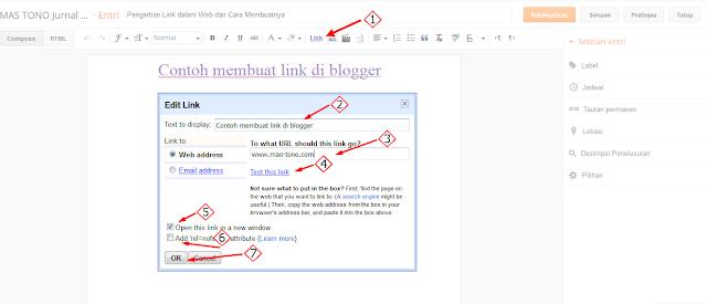 Cara membuat teks yang mengandung link di blog