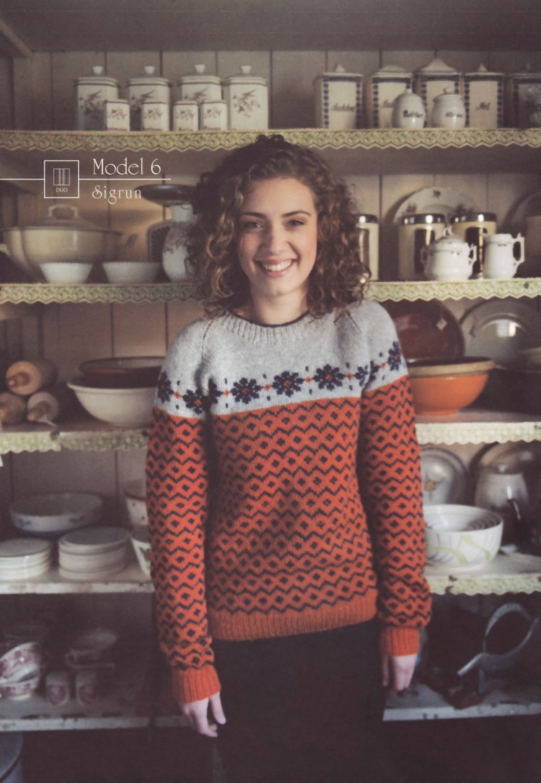 a2e78757a And so I chose Model 6 - Woman s jumper in Orange from Navia pattern book  17. This gorgeous pattern features an all-over traditional pattern on the  lower ...