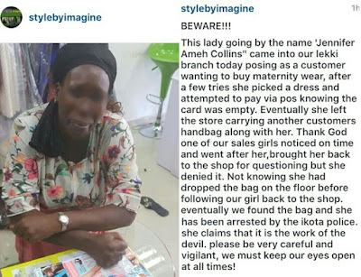 Young Woman, Jennifer Ameh Collins Steals A Customer's Bag In Lekki Shop (pictured)