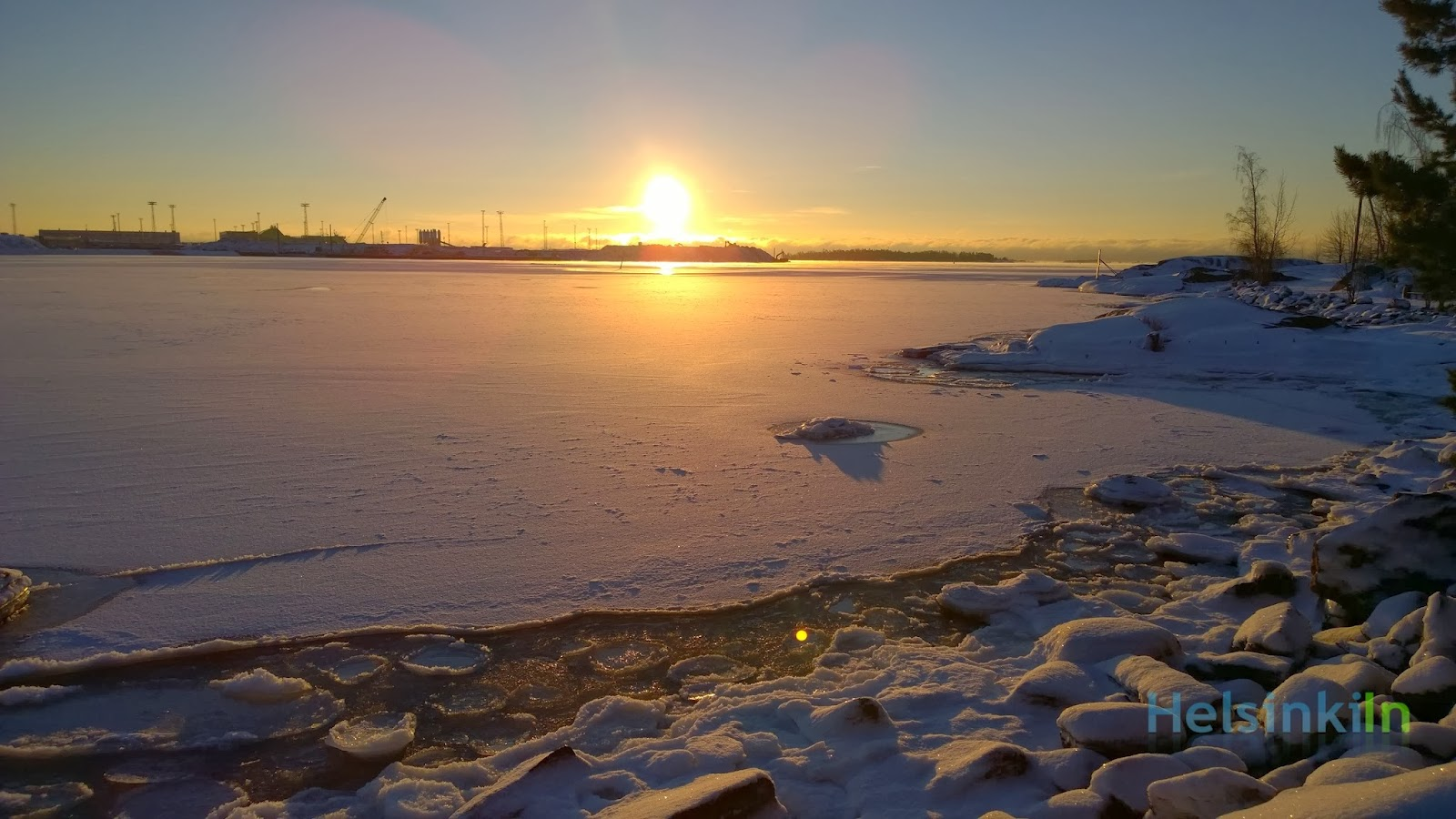 frozen sea in Helsinki