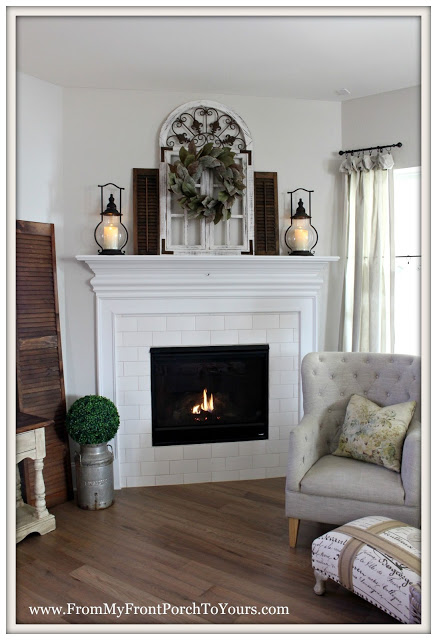 Farmhouse Fireplace-Spring Mantel-From My Front Porch To Yours