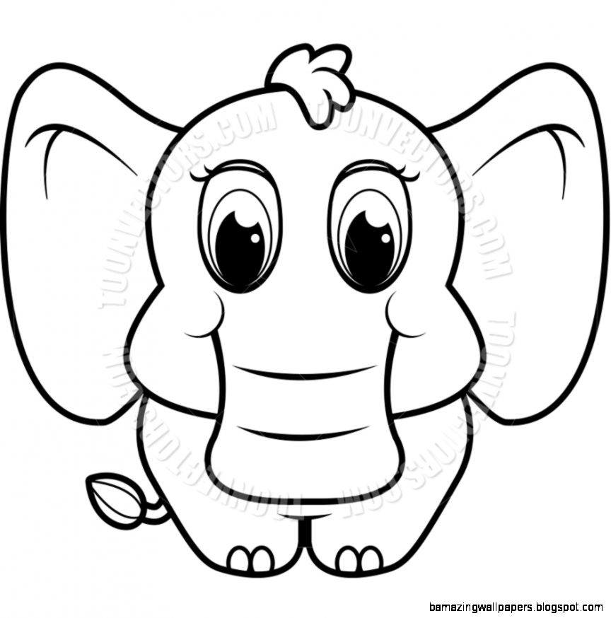Baby Elephant Clipart Black And White | Amazing Wallpapers