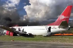 (Photos)Passenger Plane With 141 On Board Catches Fire While Attempting An Emergency Landing