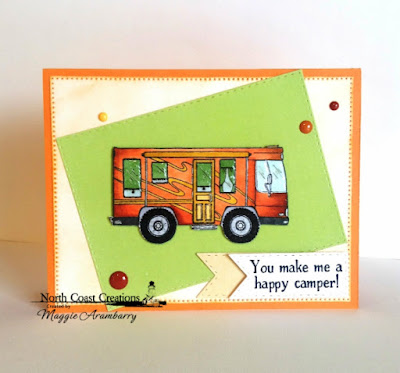 North Coast Creations Stamp Set: Camper Sweet Camper, ODBD Custom Dies: Doubled Stitched Rectangles, Pierced Rectangles, Double Stitched Pennant Flags, North Coast Creations Paper Collection: Sweet Shoppe