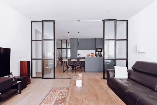 Cocinas con estilo - Cocina salon separados cristal ...