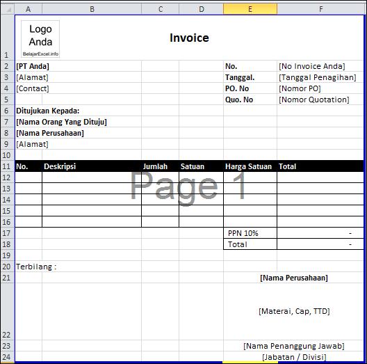 Belajar Excel Contoh Invoice Sederhana Dengan Excel 2010