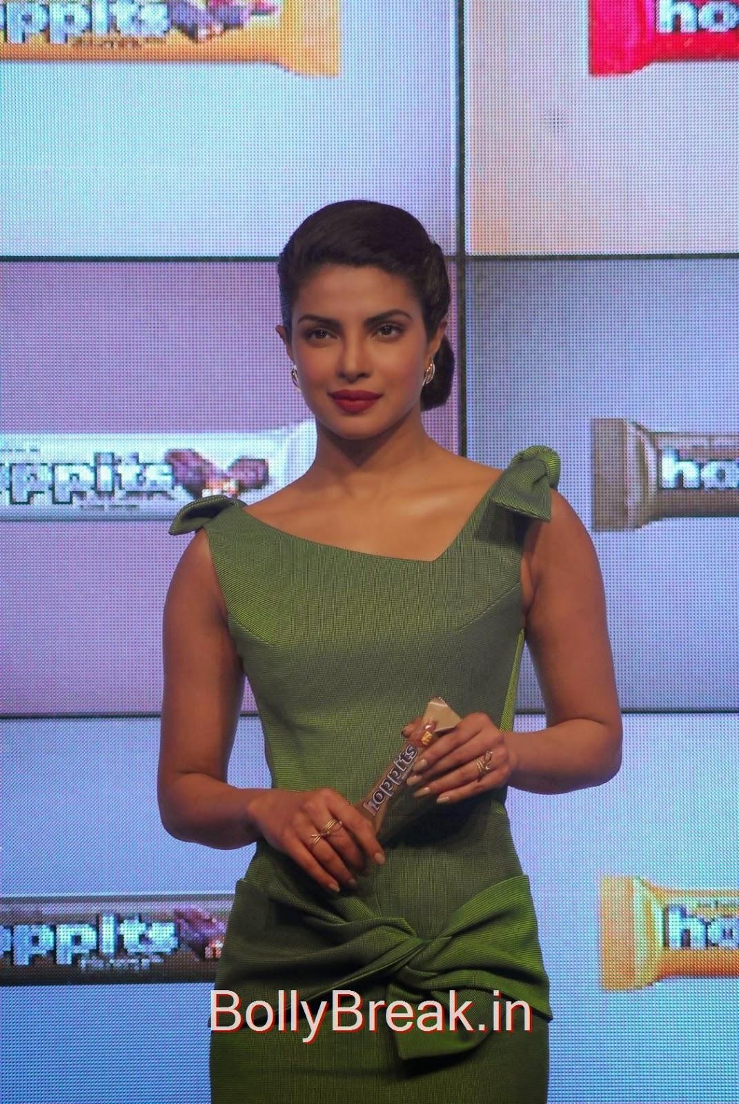 Priyanka Chopra Photoshoot Stills, Priyanka Chopra Hot Pics in green dress from Hoppit Chocolate Launch