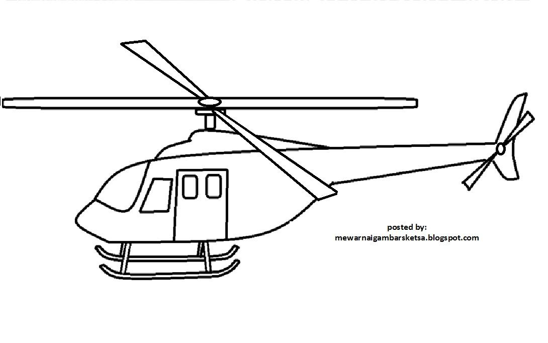 Mewarnai Gambar Mewarnai Gambar Sketsa Helikopter 2