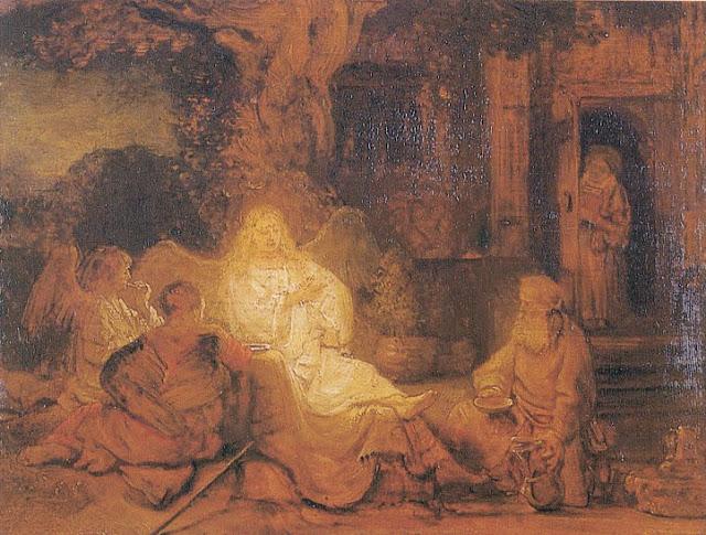 אברהם,שרה והמלאכים - רמברנדט