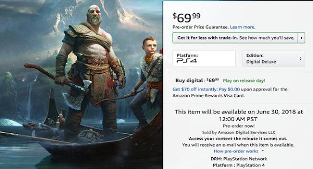 Amazon lista edición digital deluxe de God of War para el 30 de junio