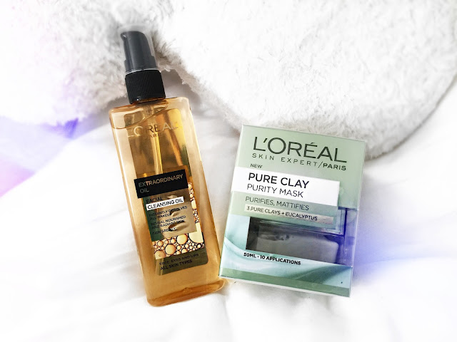 loreal, loreal paris, cleansing oil, drugstore, boots, clay mask, purity mask, skin care,