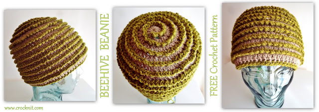 how to crochet, beehive beanie, spiral hats, surface crochet, free crochet patterns,