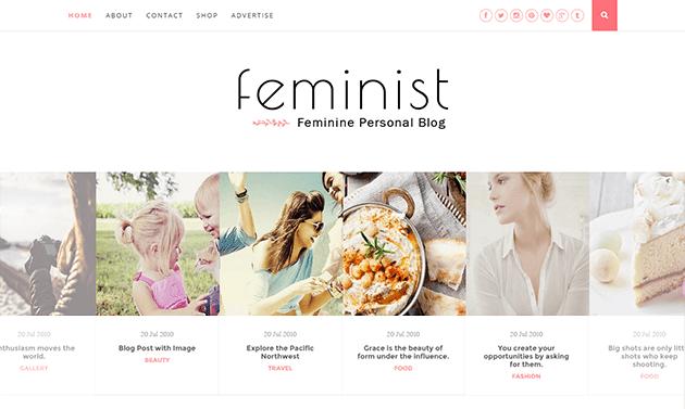 Demonstração Modelo Feminist para Blogger Clean e Responsivo 2018