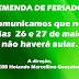 EMENDA DE FERIADO