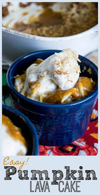 Easy Pumpkin Lava Cake is one of the yummiest, easiest pumpkin recipes you will ever find! This fall dessert recipe is AMAZING! The white chocolate chips inside give it a little extra depth; and the warm caramel sauce at the bottom of the pan makes you want seconds..... or thirds!