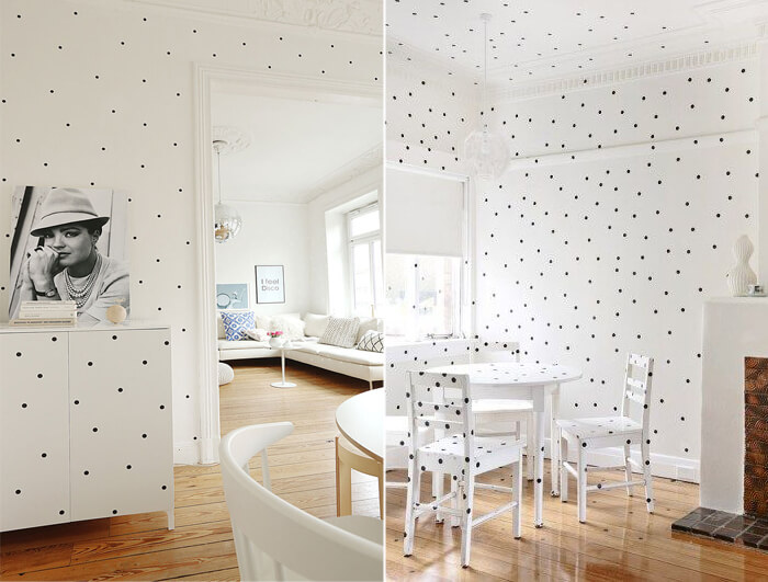 Decorare arredi e pareti con pois black & white