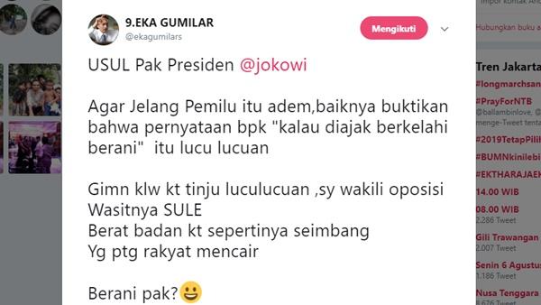 Eka Gumilar Ajak Jokowi Tanding Tinju, Sule Wasitnya